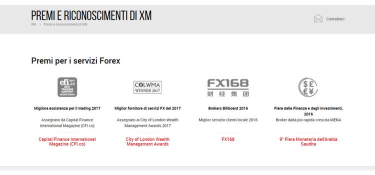 sito web xm forex riconoscimenti